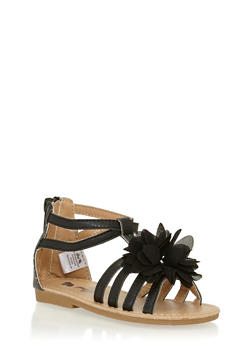 Girls 6-10 Black Gladiator Sandals with Flower Detail - 1737065690248