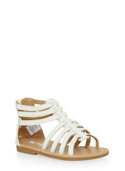 Girls White Gladiator Sandals with Back Zip - 1737065690250