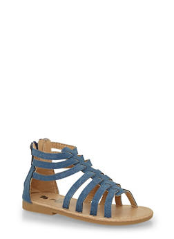Girls 6-10 Denim Caged Gladiator Sandals - 1737065690251