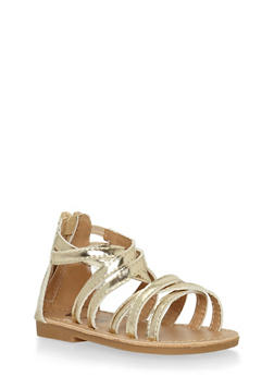 Girls Gold Faux Patent Leather Gladiator Sandals - 1737065690253