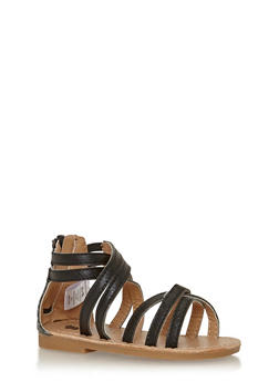 Girls Black Faux Leather Cross Strap Gladiator Sandals - 1737065690255