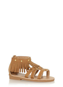 Girls Chestnut Studded Fringe Gladiator Sandals - 1737065690257