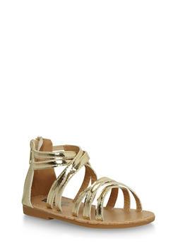 Girls Metallic Gold Gladiator Sandals - 1737065690260