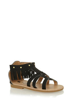 Toddlers 6-10 Black Studded Fringe Gladiator Sandals - 1737065690265