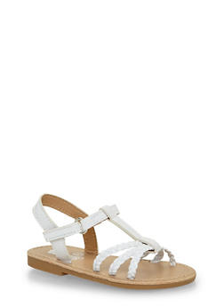 Toddlers 5-10 White Faux Leather Braided Sandals - 1737065690266