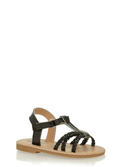 Girls Black Woven Faux Leather Sandals - 1737065690267