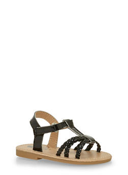 Toddlers 6-10 Black Faux Leather Braided Sandals - 1737065690274
