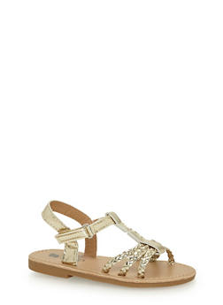 Toddlers 6-10 Gold Braided Ankle Strap Sandals - 1737065690275