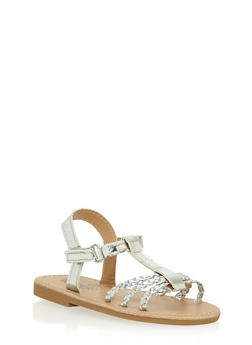 Girls 6-10 Metallic Silver Braided T Strap Sandals - 1737065690276