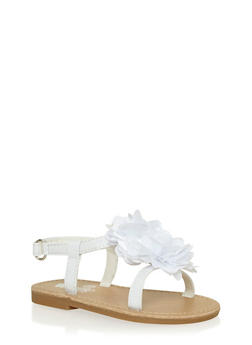 Girls 6-10 White Faux Leather Flower Gladiator Sandals - 1737065690277