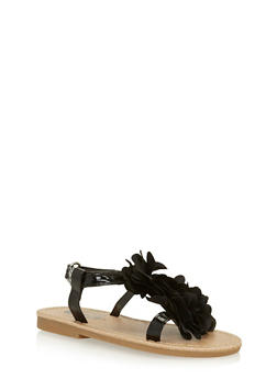 Girls 6-10 Black Patent Faux Leather Sandals with Flower Accent - 1737065690278