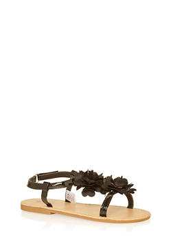 Girls 11-3 Black Flower Patent Faux Leather Sandals - 1737065690283
