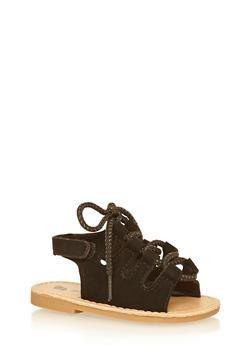 Girls Black Faux Suede Lace Up Sandals - 1737065690292