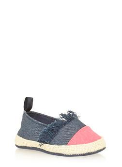 Girls Glitter Denim Frayed Flats with Contrast Cap Toe - 1737065690298