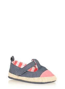 Girls Glitter Denim Mary Jane Shoes - 1737065690302