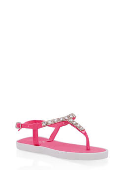 Girls 10-4 Rhinestone Thong Sandals - 1737068060227