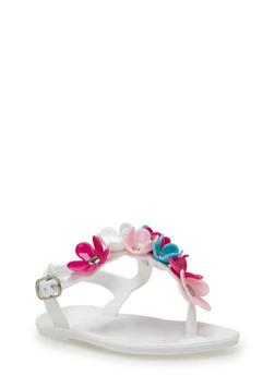 Girls 5-11 Flower T Strap Jelly Sandals - 1737068067264