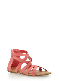 Girls Faux Leather Gladiator Sandals - 1737068067265
