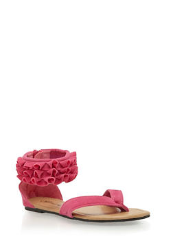 Girls 11-4 Y Strap Sandals with Ruffled Ankle Cuff - 1737068067266