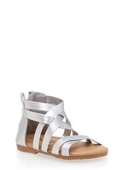 Girls Faux Leather Cross Strap Gladiator Sandals - 1737068067272