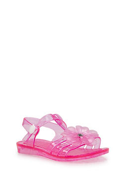 Girls 5-11 Flower Jelly Sandals with Rhinestone Stud - 1737068067275