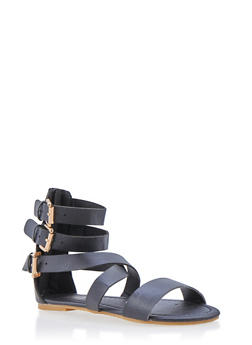 Girls 11-4 Triple Buckle Faux Leather Sandals - 1737068067277