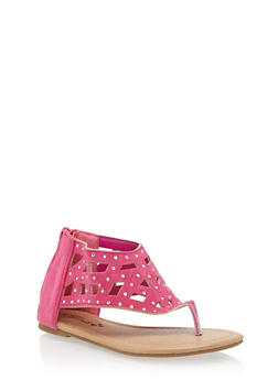 Girls Rhinestone Studded Thong Sandals with Cutouts - 1737068067279