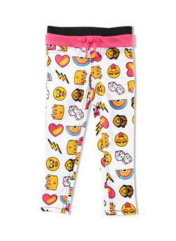 Girls 4-6x Trukfit Jeggings with Mixed Emoji Graphic and Contrast Foldover Waistband - 1780072911008