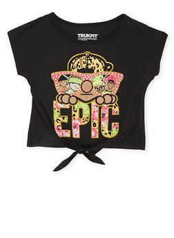 Girls 4-6x Trukfit Graphic Top with Knotted Hem and Epic Print - 1780072911063