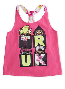 Girls 4-6x Trukfit Graphic Tank Top with Paint Splatter Tulip Back - 1780072911085