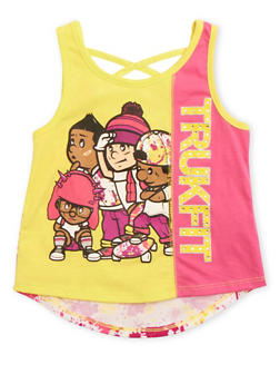 Girls 4-6x Trukfit Tank Top with Criss Cross Back - 1780072911086