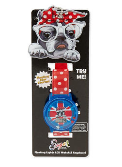 Kids Polka Dot Dog Watch with Key Chain - 1799049040002