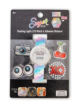 Light Up Watch with Selfie Graphic and Assorted Stickers - 1799049040021