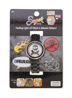 Skull LCD Watch with Assorted Stickers and Patches - 1799049040025