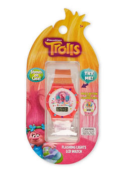 Trolls Cupcakes and Rainbows Watch with Flashing Lights - 1799049040037