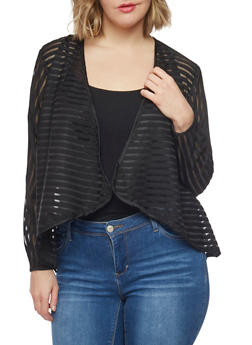Plus Size Shadow Stripe Open Front Blazer - BLACK - 1802051065672