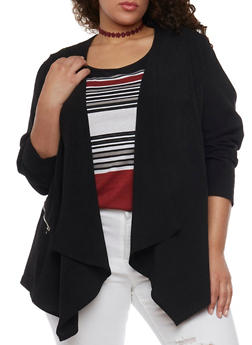 Plus Size Open Front Blazer with Zip Pockets - BLACK - 1802051066096