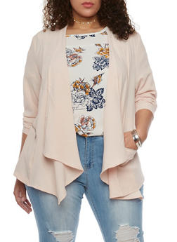 Plus Size Open Front Blazer with Zip Pockets - BLUSH - 1802051066096