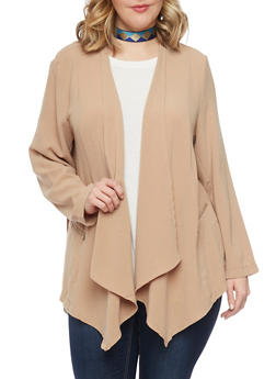 Plus Size Open Front Blazer with Zip Pockets - COFFEE - 1802051066096