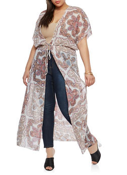 Plus Size Printed Sheer Maxi Duster - 1802051066506