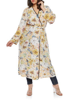 Plus Size Floral Maxi Duster - IVORY - 1802051066550
