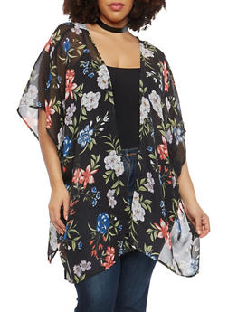 Plus Size Sheer Caged Back Floral Kimono - 1802051066940