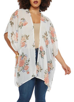 Plus Size Floral Keyhole Back Kimono - 1802051067645