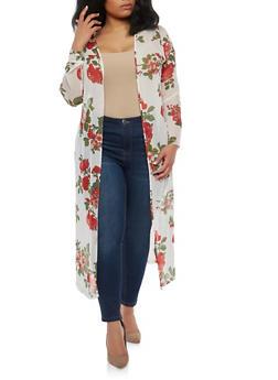 Plus Size Floral Mesh Duster - 1802058750087