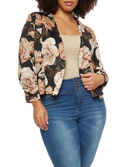 Plus Size Rose Blazer - 1802062700113