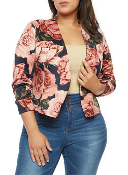 Plus Size Floral Ruched Sleeve Blazer - NAVY - 1802062701130