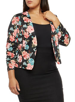 Plus Size Floral Ruched Sleeve Blazer - ROSE - 1802062701130