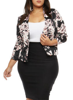 Plus Size Floral Ruched Sleeve Blazer - BLUSH - 1802062701130