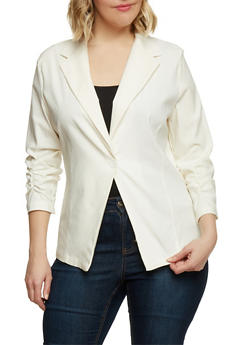 Plus Size Twill Blazer with Ruched Sleeves - IVORY - 1802062701301