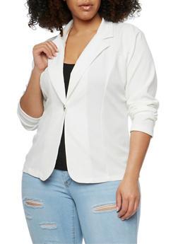 Plus Size Crepe Knit Single Button Blazer - IVORY - 1802062701302